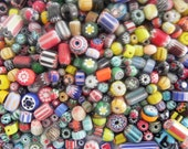 SUPPLIES-beads - African trade beads 200  plus  Pcs  lot  chevron glass  Beads handmade mix  Assorted.
