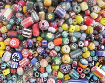 SUPPLIES-beads - African trade beads 200  plus  Pcs  lot  chevron glass  Beads handmade mix  Assorted.