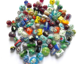 1  POUND Millefiori glassbeads mix.Assorted supper  quality.