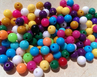 150 Round Multicoloured Colourful Acrylic Opaque Beads 8mm
