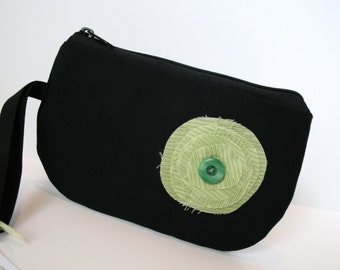 Black Fabric Wristlet, IPhone Wristlet, SmartPhone Wristlet, Zippered Wristlet