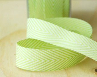 """Chevron Ribbon in Lime Green and White 5 Yards Polyester Ribbon by May Arts  3/4"""" Wide"""