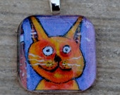 Pendant Orange Kitty Mini Print Under Glass