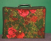 Vintage Weekend Away Suitcase - Retro Floral Pattern - FREE SHIPPING!