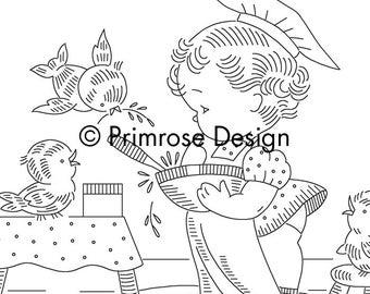 Vintage Hand-Embroidery Pattern PDF - Little Girl Chef Children's Apron Design