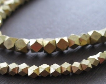 Rustic Organic Brass 3mm Tetradecahedron African Spacer Heishi Beads
