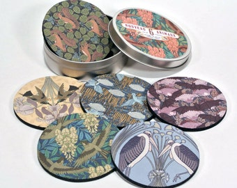 Nouveau Animaux art coaster set birds bat crane squirrel 6 six coasters in matching tin Gifts Under 20 gifts for art lovers arts and crafts