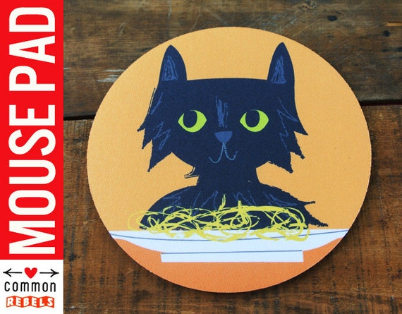 Spaghetti Cat MEME internet black cat mouse pad with cute art by Kathleen Habbley oh yeah mousepad