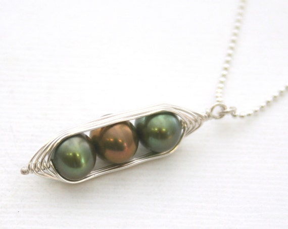 Peapod necklace. Three peas in a pod with bronze forest green freshwater pearls. Peapod jewelry, gift for mom, sister, or best friend
