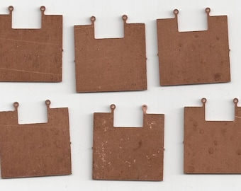 6 Vintage Copper Squares with Cut Out