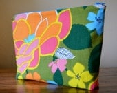 Mod Floral Zipper Pouch/ Cosmetic Pouch