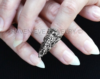 Nail Ring Elf Maiden Elegant  Armor Ring Nail jewelry Antique Silver plate