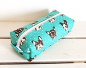 Long box pouch - French bulldog in mint