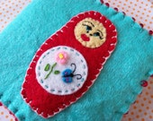 SALE Matryoshka Russian Nesting Doll Felt Needle Book