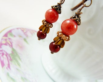 Coral Earrings, Beaded Dangle Earrings in Coral Brass Cranberry Red, Autumn Fall Harvest Earrings, Handmade by KreatedByKelly