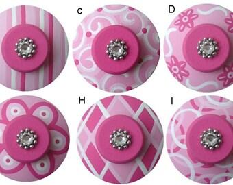 Pink Knobs Hand Painted Knobs Decorative Knobs Kids Knobs Nursery Room Knobs Childrens Knobs Drawer Pulls Kids Dresser Knobs Colorful Knobs