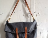 Slate and honey fold over tote