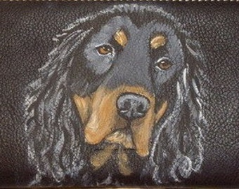 Gordon Setter Dog Custom Painted Ladies Leather Wallet