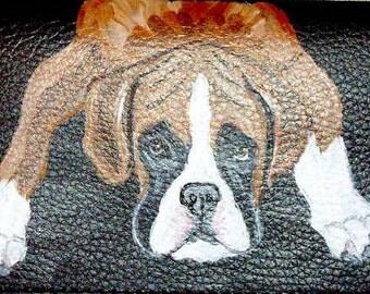 Boxer Dog Custom hand Painted Ladies  leather Wallet vegan