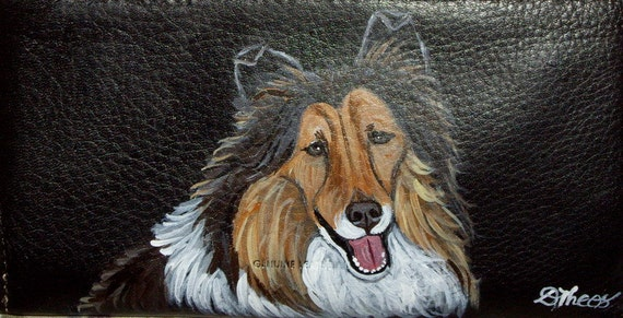 Collie Dog Custom Painted Women's Leather Wallet