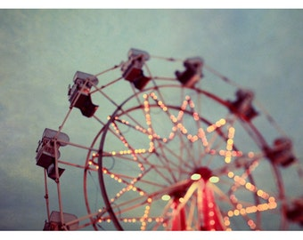 Photography - Ferris Wheel Photograph - Carnival - Fair - Summer Photograph - Starry Night - Original Fine Art Photograph - Oversized Art