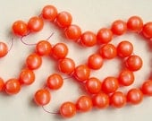 20 Inch Strand Of Orange Lucite Moonglow Beads