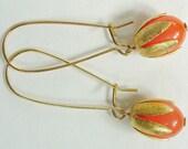 Orange Lucite Moonglow Long Drop Earrings