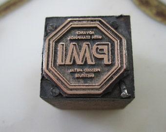 PMI Pressed Metal Institute Antique Letterpress Printers Block