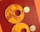 Handmade paper two toned damask earrings