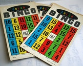 Vintage Colored Bingo Cards- Set of 4