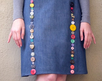Denim button skirt, size medium
