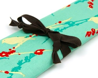 Large Knitting Needle Case - Sparrows on Aqua - 30 brown pockets for straights, circular, double pointed or paint brushes