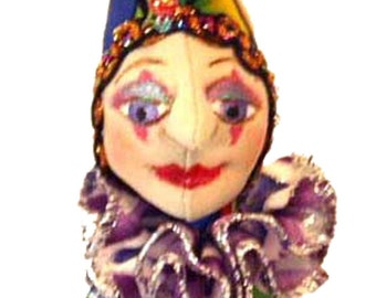 "E- PATTERN- PERRI, Pincushion-  20 cm (8"") Tall, Cloth Doll, Tutorial, Instructional, jester, Home Decor, Michelle Munzone, sewing, project"