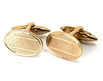 Vintage 1940s Cufflinks Geometric Oval Design Gold Toned Circa 1940