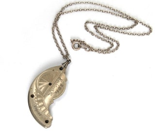 "The ""Steam Relic"" Steampunk Necklace with STUNNING Antique Pocket Watch Plate Guilloche Engraved by Nouveau Motley"