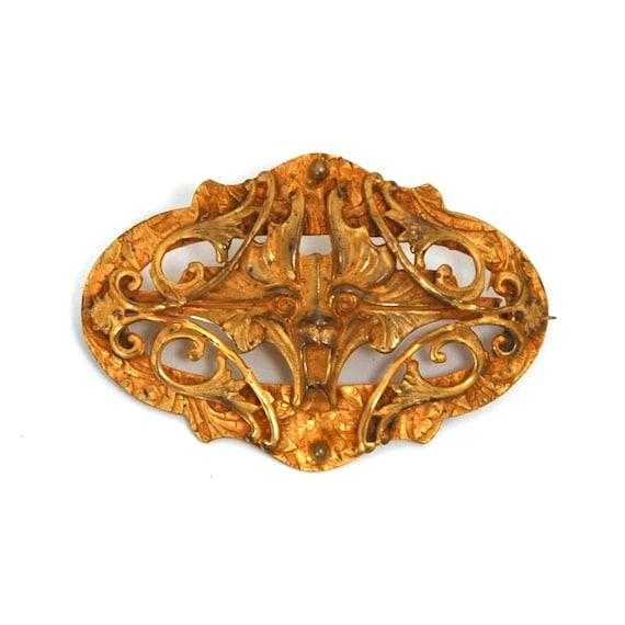 SALE Rare GARGOYLE Brooch Ormolu Art Nouveau Sash Pin Circa 1910