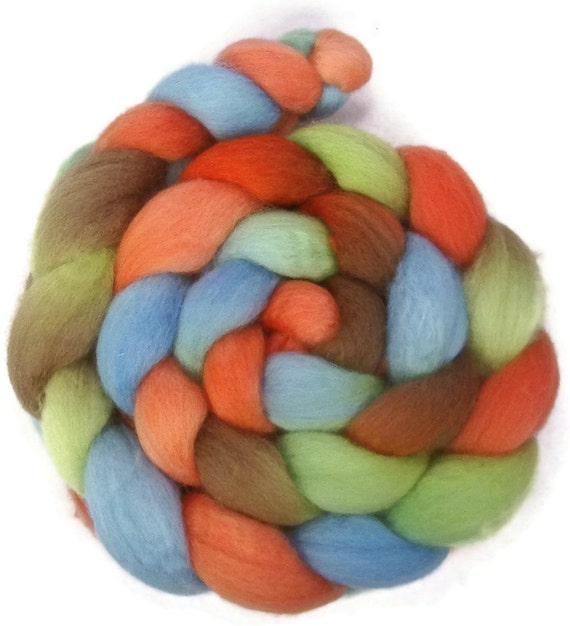 Handpainted BFL Wool Roving - 4 oz. CYNDI'S SUITCASE - Spinning Fiber
