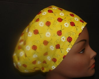 Euro Close Fit Ladybug on Yellow Medical Surgical Scrub Hat Vet Nurse Chemo
