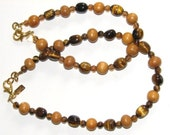 Tiger eye, Czech glass and wood anklet