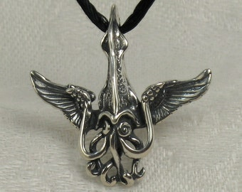Winged squid pendant, Solid Sterling Silver