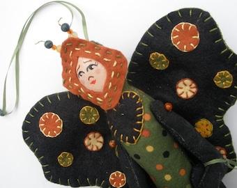 Doll, OOAK Doll, Fairy Doll Handmade, OOAK Cloth Art Doll, Wallhanging for fall Autumn