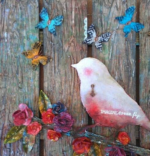 The Key To Dreams Original Mixed Media Artwork Original Bird Wall Hanging Dimensional Artwork