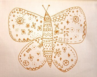 embroidery pattern on fabric Orange Butterfly, small