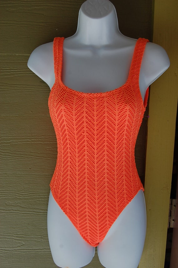 Vintage 80s High Cut Neon Orange Crochet Cutout One Piece Tank