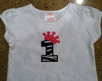 Custom boutique number appliqué with crown shirt