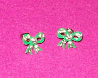 Bright Green and Rhinestone Bow Post Earrings