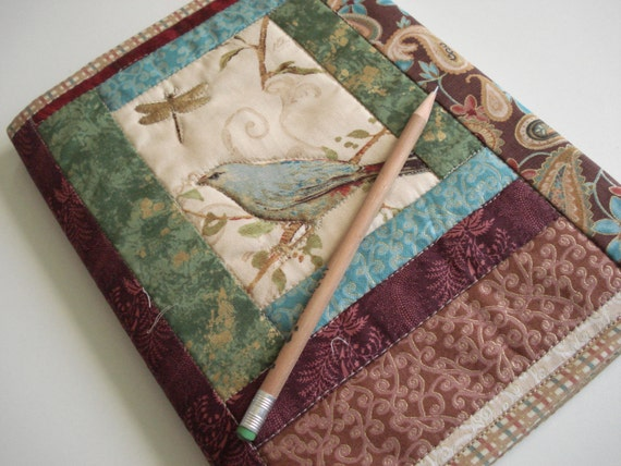 Quilted Journal Cover - Spring Garden, Blue Bird and Dragonfly
