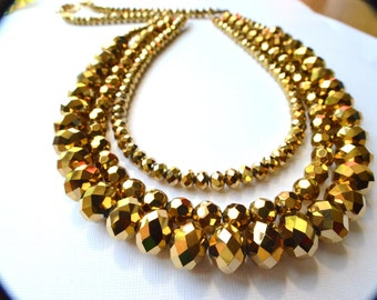 The Las Vegas- Gold Rondelle Statement Necklace