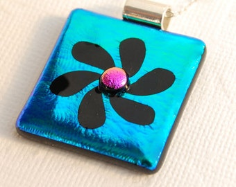 Dichroic Glass Pendant, Fused Glass, Dichroic Flower, Etched