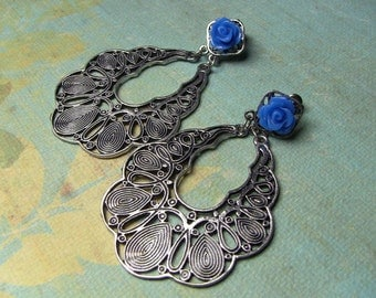 Silver filigree blue rose dangle earrings